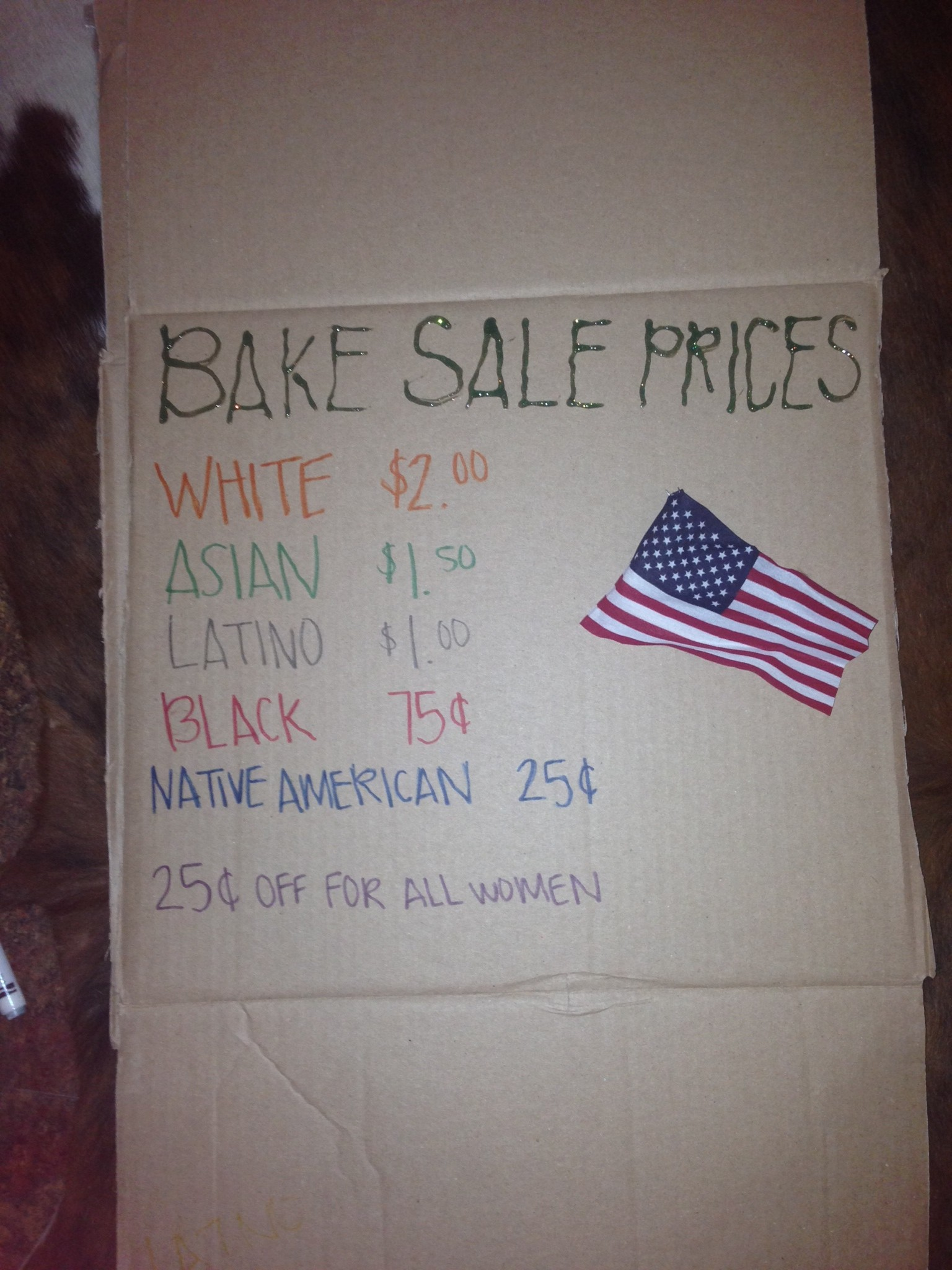 Funny and sad at the same time. Young Conservatives of Texas hold a bake sale at UT-Austin, complete with Affirmative Action prices....