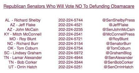 Here is the list of career parasite RINOs who plan to vote to fund Obamacare....