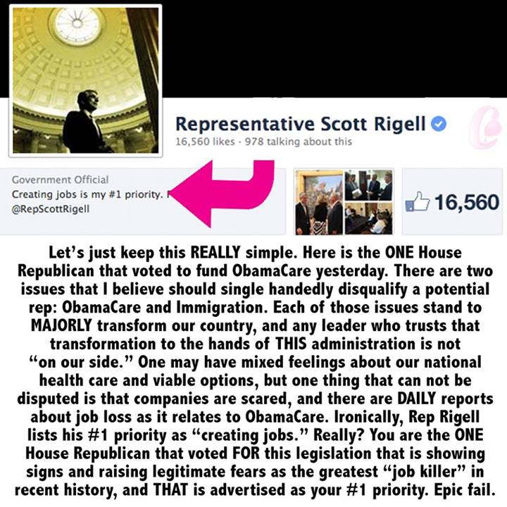Scott Rigell, 2d District of Virginia. That's Tidewater and Eastern Shore. For all of my friends in that area, please remember this RINO as the guy to NOT vote for next election. He is the ONLY Republican to vote to fund Obamacare....