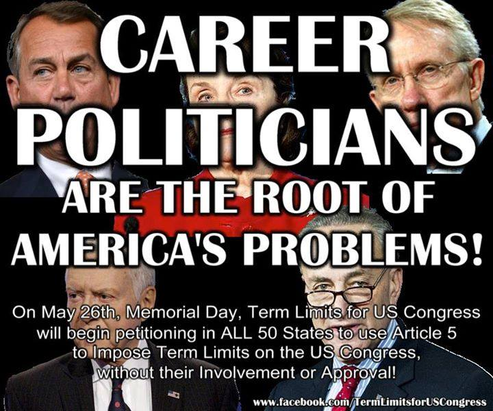 """YES!!!! Convention of States! Throw the bums out! One minor (OK, major) correction. They are not """"career politicians."""" They are """"career parasites.""""…."""
