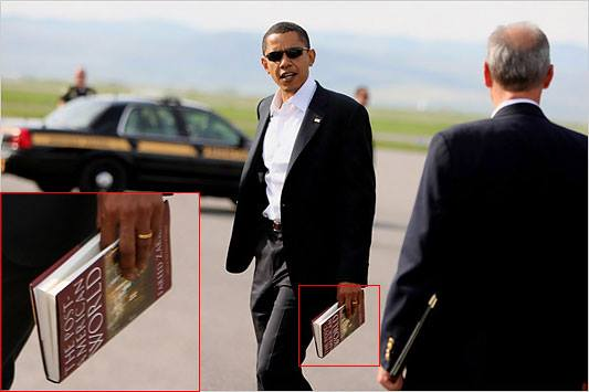 For those of you who amazingly believe that King Hussein has nothing but a pro-American agenda, this photo of candidate Obama carrying (and presumably reading) the best-selling book, The Post-American World, was shot by Doug Mills of the New York Times in Bozeman, Montana, in May 2008....
