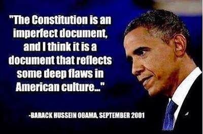 What a complete loser! Our Constitution is as near a perfect document as any that exists. It has been the inspiration and model for the constitution of every free country that has been established in the past 200+ years. But in order for our Constitution to work it has to be obeyed and enforced, especially by complete losers like King Hussein….