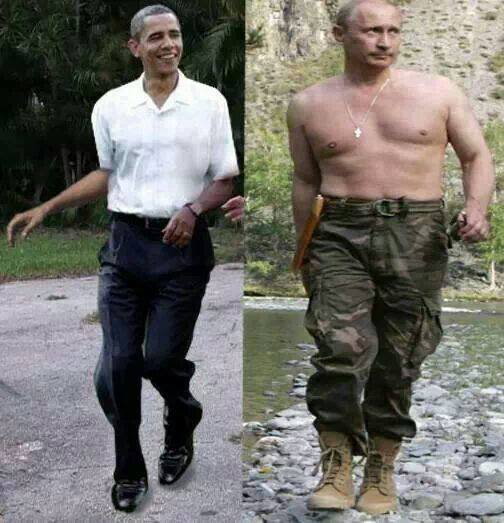 Opposing leadership styles. This is how America looks to the rest of the world now. Thanks, Obama voters! Also, note Putin's necklace. I wonder if he would consider running for President of the United States in 2016. King Hussein has broken the seal for foreigners to be elected. I would vote for him. He has a much better understanding of the United States Constitution than our current president....