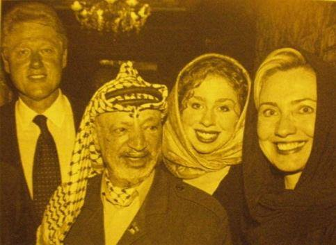 L to R, Bill, Hillary, Chelsea, and unknown peasant woman....