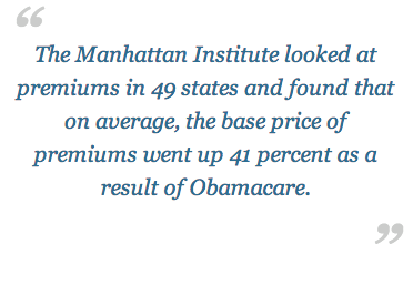 Health insurance premiums across America have risen 41%, ON AVERAGE, since Obamacare was implemented. SO FAR! The worst is yet to come!…